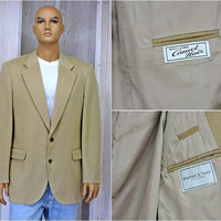 Camel Hair sports coat size XXL 48 chest / Vintage 80s suit coat / 100 percent fine camel hair / Branford and Taylor made in USA