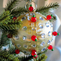 Christmas Ornament, Gold Ball with Red, Green, & Silver Accents in Gift Box, Handmade Fabric Tree Decoration, Holiday Decor, Boxed Present