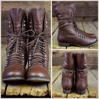 SZ 6 Emory Scalloped Lace Up Military Combat Boots Light Brown-OUT OF BOX