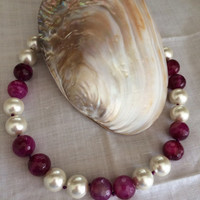 Colorful Pearl Majorca Beads Necklace hand made ruby white pearl beads knotted pearl beads necklace Mother's Day birthday gift