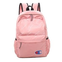 Champion Fashion Edgy Simple School Backpack Travel Bag Pink
