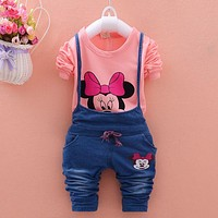 Vestidos 016 Brand New Spring Autumn Sets Minnie Cotton T-shirt & Polka Overalls Baby Girl Clothing Suits Kids Bebes Clothes
