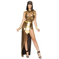 Sexy Elizabeth Taylor Cleopatra Gold Dress with Accessories