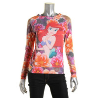 Disney Womens Juniors Floral Ariel Print Long Sleeves Pullover Top