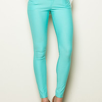 Mid-Rise Jeggings Turquoise