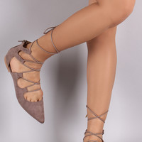 Qupid Pointy Toe Lace Up Cutout Flat