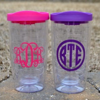 Double wall tumbler with monogram initials and colored lid