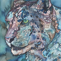 Watercolour Snow Leopard 4 x 6 print of hand by DeepColouredWater