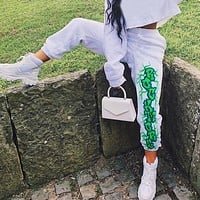 Women's Joggers Cotton Harem Pants With Print Elastic Waist Women's Trousers Gothic Harajuku Pants