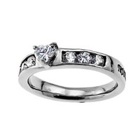 """Christian Womens Stainless Steel Abstinence Proverbs 3:5 """"Trust in the Lord with all your heart"""" Heart Princess Solitaire Chastity Ring for Girls - Girls Purity Ring - Comfort Fit Ring"""