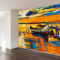 Impressionist Canoe Wall Mural Decal