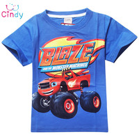 2016 New Kids clothes cotton short-sleeved boys t shirts Blaze And The Monster Cartoon t shirt patterm kids boys Clothing
