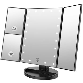 BESTOPE Makeup Vanity Mirror with 3x/2x Magnification,Trifold Mirror with 21 Led Lights,Touch Screen, 180° Adjustable Rotation,Dual Power Supply, Countertop Cosmetic Mirror Black