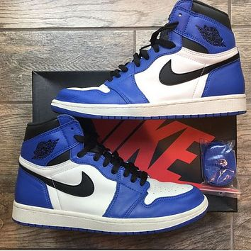 AJ1 Air Jordan 1 Fashionable Women Men Sport Running Shoes Sneakers White&Black&Blue