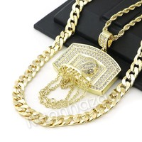 BIG BASKETBALL BACKBOARD ROPE CHAIN DIAMOND CUT CUBAN CHAIN NECKLACE G64