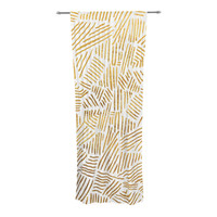 """Pom Graphic Design """"Inca Gold Trail"""" Yellow Brown Decorative Sheer Curtain"""