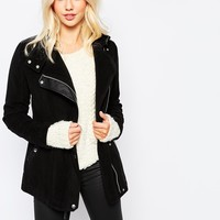 Hollister PU Wool Mix Biker Coat