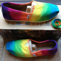 Women's Custom Toms Rainbow Tie Dye Shoes by 2dye4designs on Etsy