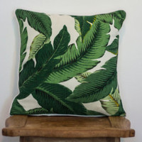 Set of 2 ~ Tommy Bahama Swaying Palms Aloe ~Tropical Palm Leaf ~ Decorative Square Throw/Toss Pillows ~ Indoor /Outdoor Fabric ~ Choose Size