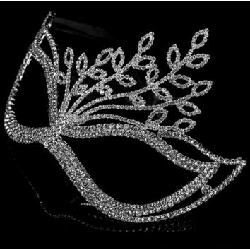 Lorelle Leaves Statement Masquerade Mask   Silver   Crystal