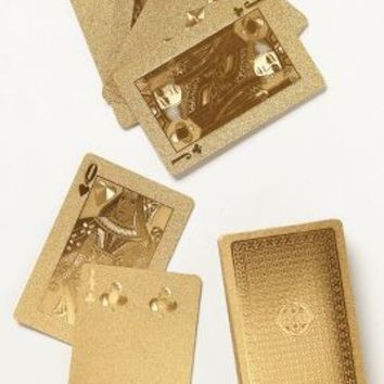 Metallic Playing Cards by Anthropologie in Gold Size: One Size Gifts