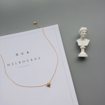 New Arrival Shiny Stylish Jewelry Gift Korean Simple Design Leaf Chain Necklace [10412390612]