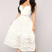 Day Time Tea Midi Dress - Ivory