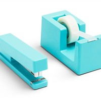 Stapler and Tape Dispenser Combo - Aqua