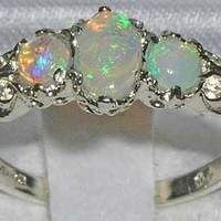 Ladies Solid Sterling Silver Natural Fiery Opal English Victorian Trilogy Ring - Size 7.5 - Finger Sizes 5 to 12 Available