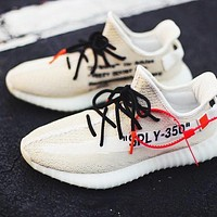 Off-White x Adidas Yeezy Boost 350V2 New Fashion Letter Print Sneakers Women Men Sport Shoes