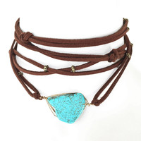 Global Stone Wrap Choker Necklace In Turquoise