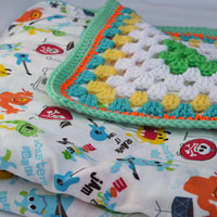 Monster Mash crochet baby blanket, granny square reversible crochet baby blanket