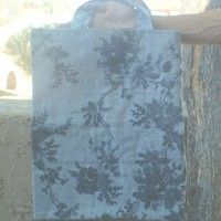 Cloth tote gift bag Dark grey flowers on grey | Sewnfromtheheart - Bags & Purses on ArtFire
