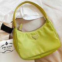 PRADA Women Shopping Bag Nylon Handbag Tote Satchel Shoulder Bag Green
