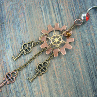 steampunk dreamcatcher belly ring keys  gears in steampunk goth fantasy  boho belly dancer tribal fusion and hipster style