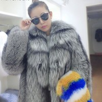 2016 new products - autumn and winter luxury leather fox fur coat