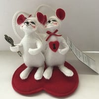 Annalee Dolls 5in 2008 Valentine Key to My Heart Mice Plush New with Tags