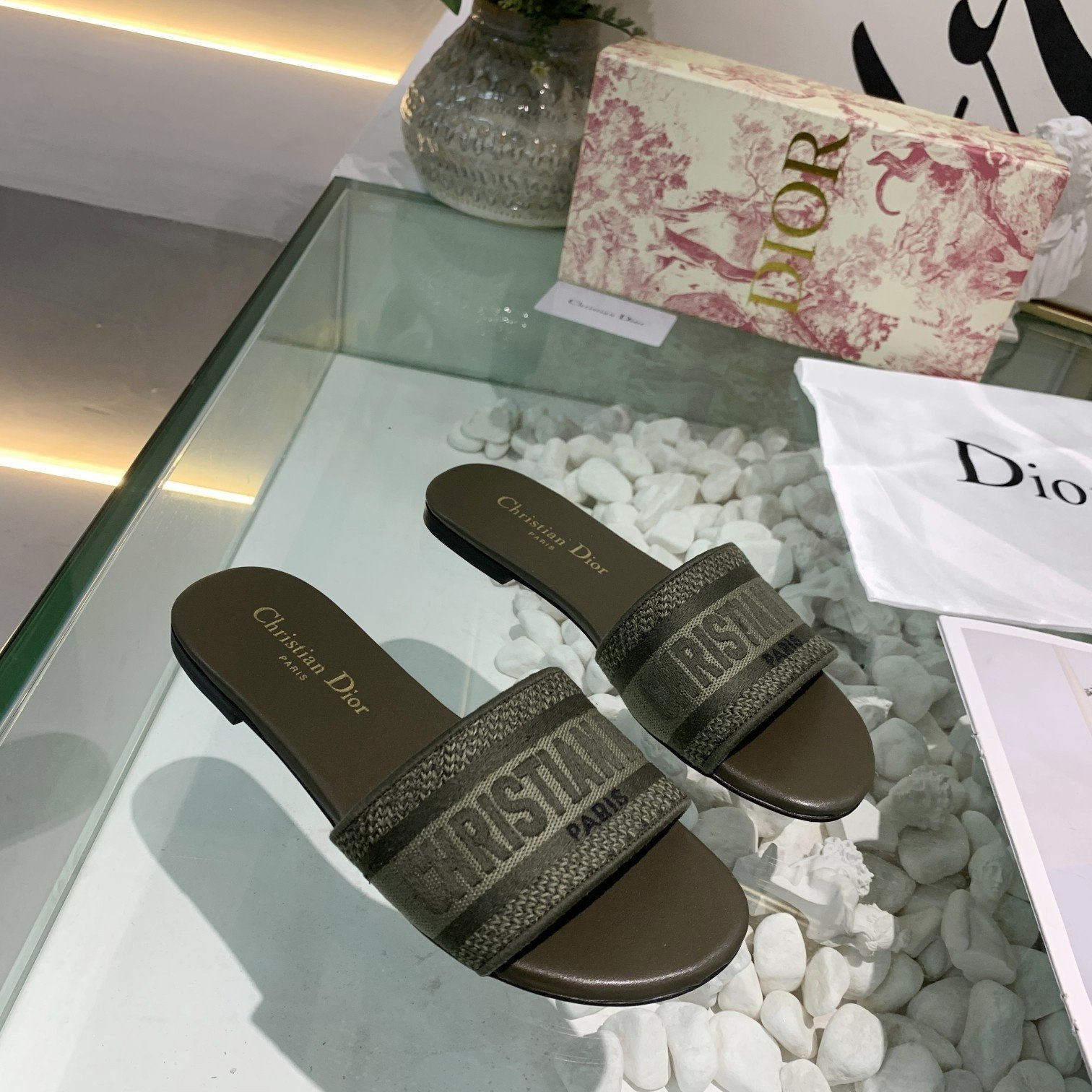 Image of Dior Women's Embroidery Flyknit Slippers Sandals Shoes