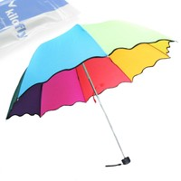 kilofly Rainbow Folding Umbrella with 8 Panels of Different Colors