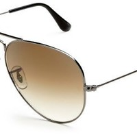Ray-Ban RB3025 Aviator Large Metal Non-Polarized Sunglasses,Gunmetal Frame/Crystal Brown Gradient Lens,58mm