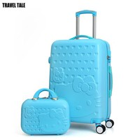 """TRAVEL TALE ABS women pink 28"""" trolley luggage bag 20"""" spinner hello kitty carry on travel suitcase for girls"""