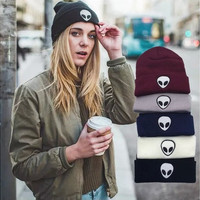 Hot Explosion New Candy Color Pattern Alien Knitted Hat Cap Wool Men Women Hat Gifts [8802102604]