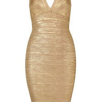 Gold Plunging Neckline Backless Bodycon Dress