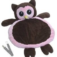 Mary Meyer 02974 Pink Owl Bestever Baby Mat with Pacifier Clip
