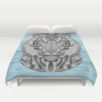 White Tiger Duvet Cover by ArtLovePassion