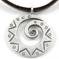 Sterling Silver Pendent Necklace,Small Engraved Thick Rustic Silver Spiral Pendant,Swirl Tribal Pendant,Men /Women Pendant Necklace,Handmade