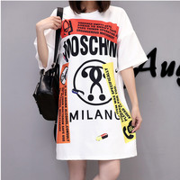 Fashion Casual Multicolor Letter Pattern Print Short Sleeve Long T-shirt Loose Mini Dress