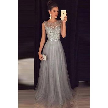 Silver Grey Prom Dress, Prom Dresses Long, Evening Dress, Pageant Dress, Back to School Party Dress, CD0047