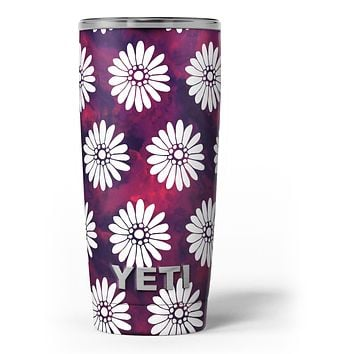 White Floral Pattern Over Red and Purple Grunge - Skin Decal Vinyl Wrap Kit compatible with the Yeti Rambler Cooler Tumbler Cups