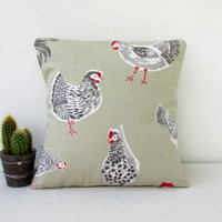 Hen cushion cover, small pillow cover, chicken print cushion, small throw pillow cottage chic decor Modern british fabric handmade in the UK